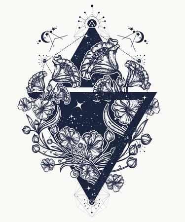 Fleurs dans un triangle art de la tatouage. Fleurs gracieuses en t-shirt de triangle mystique. Symbole d'art, liberté, astronomie, mystérieux savoir tatouage