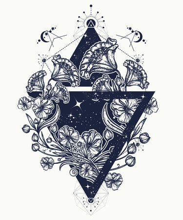 Flowers in a triangle tattoo art. Graceful flowers in mystical triangle t-shirt design. Symbol of art, freedom, astronomy, mysterious knowledge tattoo