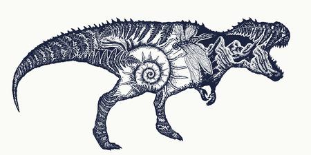 Tyrannosaur double exposure tattoo art. T-Rex dinosaur monster t-shirt design.Symbol of archeology, paleontology. Tyrannosaur, fern, ammonite, dragonfly, ancient minerals