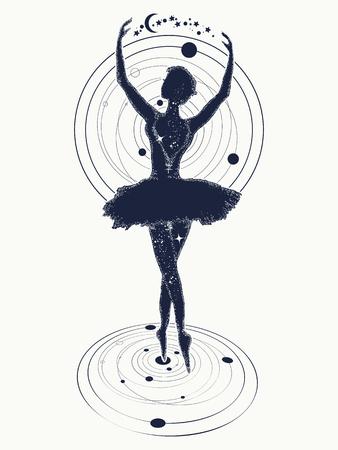 Ballerina dansen in de ruimte tattoo. Symbool van kunst, poëzie, filosofie. Gracieuze meid dansen in diepe ruimte t-shirt ontwerp Stockfoto - 75397694