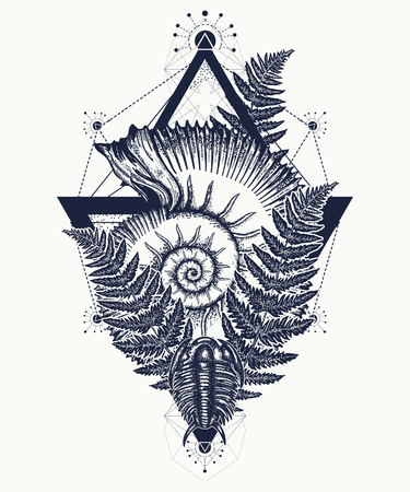 Nautilus shell prehistoric tattoo art. Ancient ammonite in the triangle t-shirt design. Ancient fossils, symbol of paleontology, science, education. Trilobites, ammonite and fern tattoo Иллюстрация