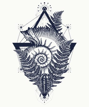 Nautilus shell prehistoric tattoo art. Ancient ammonite in the triangle t-shirt design. Ancient fossils, symbol of paleontology, science, education. Trilobites, ammonite and fern tattoo Ilustração