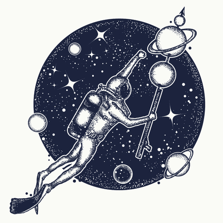 Astronaut in diepe ruimte t-shirt design. Duiker in de ruimte zweeft tattoo art. Symbool van de wetenschap, onderzoek, ruimtevaart. Duiker vangt planeten in de ruimte Stock Illustratie
