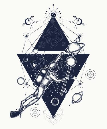 Duiker drijft in de ruimte tattoo art. Astronaut in diepe ruimte t-shirt ontwerp. Symbool van wetenschap, onderzoek, ruimtevaart. De duiker vangt planeten in de ruimte