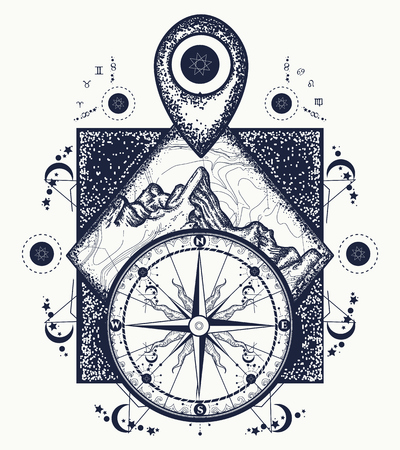 geodesy: Mountain, map pointer and compass tattoo Adventure, travel, outdoors, symbol. Compass, mountains boho style, t-shirt design