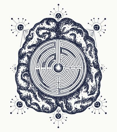 두뇌와 미로 문신 예술입니다. 철학, 인공 지능, 심리학, 창조적 사고의 상징. 독창적 인 두뇌 티셔츠 디자인 일러스트