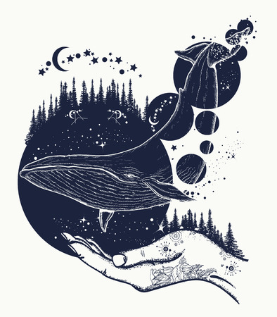 Whale tattoo art. Symbol of a dream, freedom, travel, imagination, meditation. Whale flies by over forest t-shirt design Vettoriali