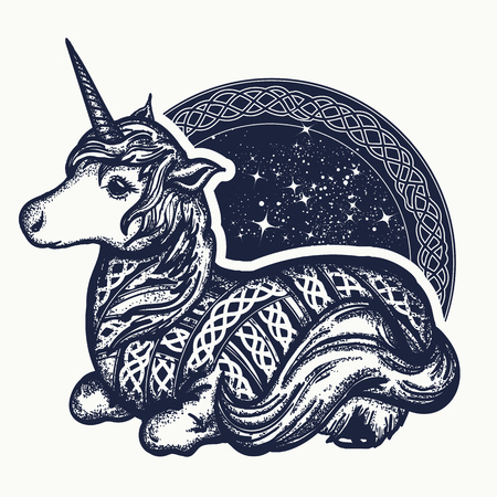 Unicorn tattoo art. Symbol of dreams, tales, fantasies. Unicorn in celtic style t-shirt design