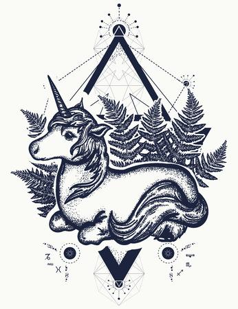 fantastical: Unicorn tattoo art. Symbol of fantasy, dreams, souls. Beautiful unicorn in a triangle t-shirt design