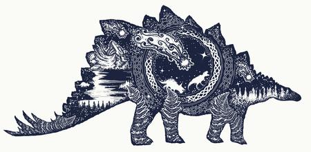 Stegosaurus tattoo art. Comet has destroyed dinosaurs. Symbol of prehistoric, paleontology. Stegosaurus double exposure t-shirt design. Why the dinosaurs died out Ilustração