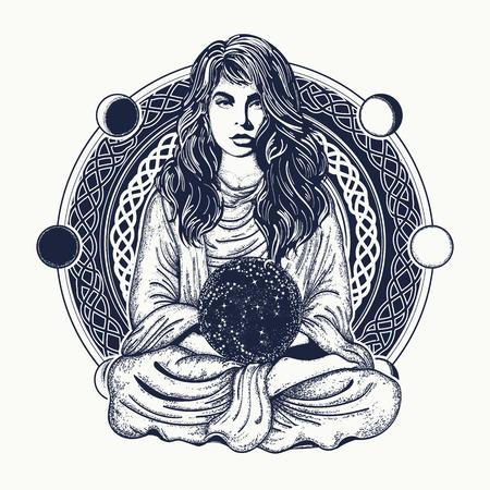 女性瞑想タトゥー アート。蓮のポーズで女の子。瞑想、哲学、占星術、魔法、ヨガのシンボルです。瞑想の女性と水晶球 t シャツ デザイン