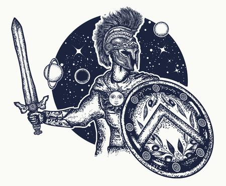 Spartanischer Krieger, der Klingen- und Schildtätowierungskunst hält. Legionär des antiken Roms. Symbol der Tapferkeit, Kraft, Armee, Held. Spartanischer Kriegert-shirt Entwurf Standard-Bild - 76591634