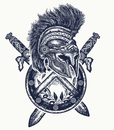 Spartaner Helm überquerte Schwerter und spartanischen Schild. Symbol der Tapferkeit, Kampf, Held, Armee. Ancient Rome Konzept Krieg T-Shirt Design Standard-Bild - 76591644