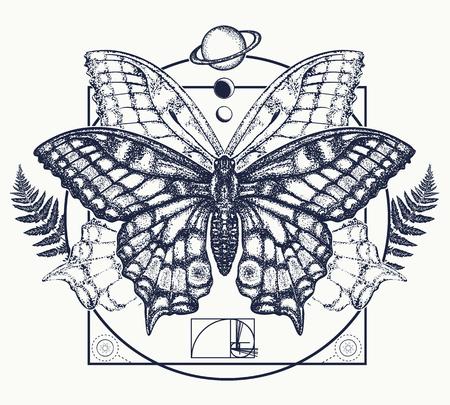 Arte de tatuagem de borboleta.  Símbolo de magia, renascimento, esoterismo, jornada, alma.  Borboleta na imagem padrão de Design de t-shirt místico círculo - 76591637
