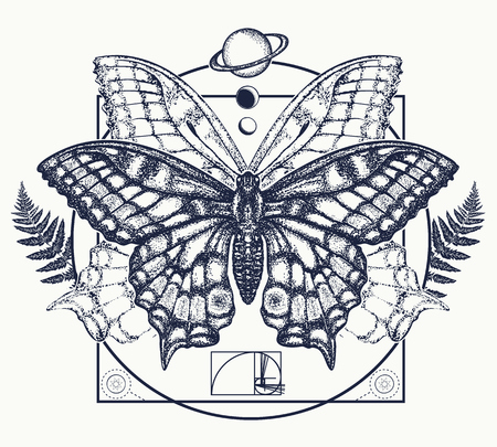 Butterfly tattoo art. Symbol of magic, renaissance, esoterics, travel, soul. Butterfly in mystical circle t-shirt design Illustration