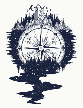 Kompas, góry, rzeka gwiazd przepływa tatuażem. Górskie antyczne kompas i wiatr wzrosły. Przygoda, podróżować, na zewnątrz, symbol. Tatuaż dla turystów, alpinistów, turystów tatuaż boho stylu