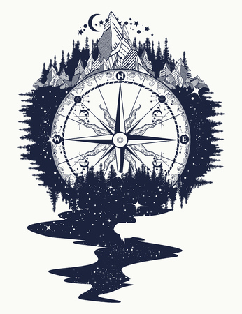 Compass, mountains, river of stars flows tattoo. Mountain antique compass and wind rose. Adventure, travel, outdoors, symbol. Tattoo for travelers, climbers, hikers tattoo boho style