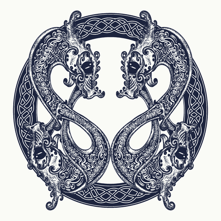ケルト スタイルで、2 匹の竜の入れ墨。瞑想、哲学、調和のシンボル。黒と白のセルティック龍 t シャツ デザイン。部族の入れ墨