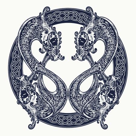 Due Dragoni in stile celtico, tatuaggio. Meditazione, filosofia, simbolo di armonia. Disegno celtico del drago in bianco e nero della maglietta. Tatuaggio tribale Archivio Fotografico - 77841309