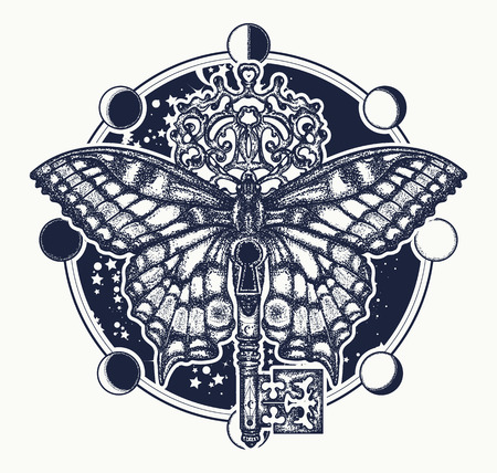 Butterfly and vintage key tattoo art. Mystical symbol of freedom, spiritual search, flight, travel. Beautiful butterfly t-shirt design boho style