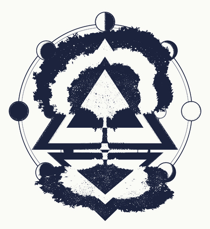 Magic tree of life tattoo art, symbol of life and death. Symbols of psychology, symmetry, philosophy, poetry. Mystic sign of immortality of the human soul. Magic tree tattoo and t-shirt design Illustration