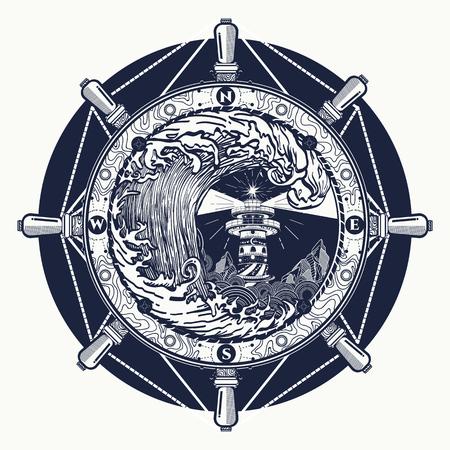 Storm tattoo art en t-shirt ontwerp. Stuurwiel, vuurtoren, kompas. Zoeklichttoren voor maritieme navigatiehulp tatoeage. Oceaan Golf storm kunst. Zee tatoeage