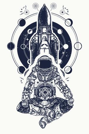 Navette spatiale et astronaute dans l'art de tatouage de position de lotus. Symbole de la méditation, de l'éducation, de la science, de l'harmonie, du yoga. Conception de T-shirt d'astronaute et d'univers. Spaceman et navette