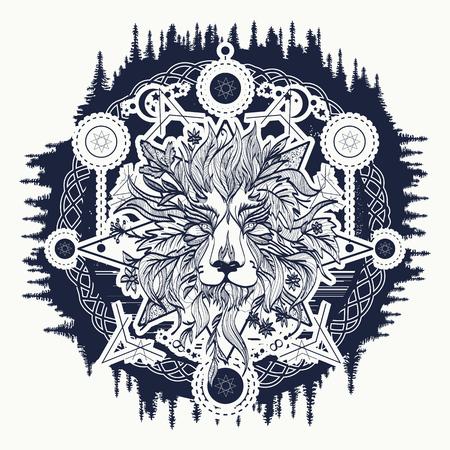 Ornamental Tattoo Lion Head. Alchemie, religie, spiritualiteit, occultisme, tattoo leeuwenkunst, kleurboeken. Mystic Lion schets tattoo art Stock Illustratie