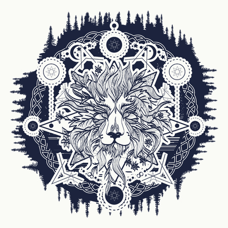 Ornamental Tattoo Lion Head. Alchemy, religion, spirituality, occultism, tattoo lion art, coloring books. Mystic Lion sketch tattoo art Illustration