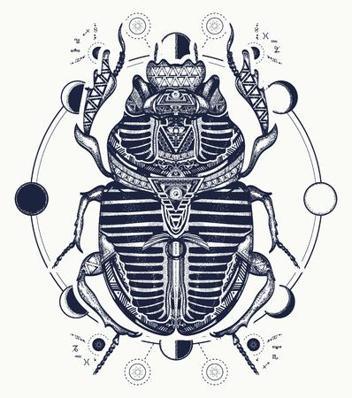 Egipcio escarabajo símbolo del faraón, los dioses Ra, el sol. Escarabajo, tatuaje, Egipto antiguo, diseño de la camiseta de la mitología, tatuajes de Egipto antiguo Ilustración de vector