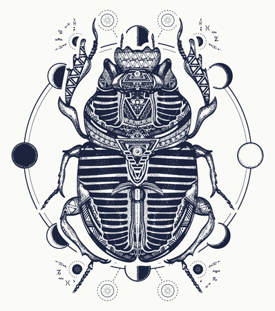Egyptian scarab symbol of pharaoh, gods Ra, sun. Scarab, tattoo, ancient Egypt, mythology t-shirt design, tattoos of ancient Egypt Stock fotó - 78086091