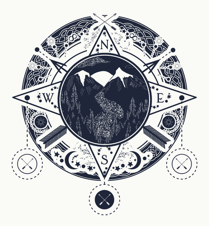 Mountain wind rose compass tattoo art. Tattoo for camping, tracking and hiking. Travel, adventure, outdoors, meditation symbol. Road in the mountains