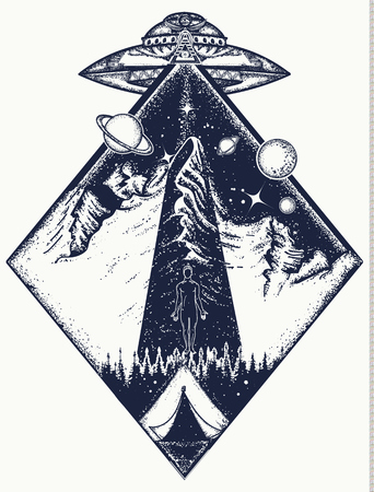 UFO tattoo art and t-shirt design. Invasion of aliens. Aliens kidnap human. Mystical symbol paranormal phenomena,  first contact, UFO kidnapped  tourist from tent in mountains tattoo Illustration