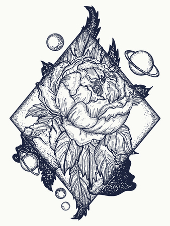 Esoteric rose tattoo art and t-shirt design. Symbol of love, beauty, nature. Beautiful magic flower rose tattoo for woman