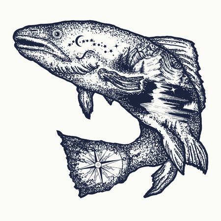Trout double exposure tattoo art and t-shirt design. Symbol of fishing, tourism, wild nature, outdoor, travel. Salmon double exposure tattoo