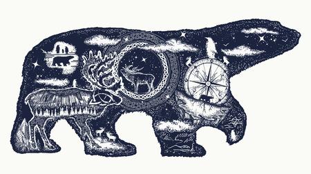 북극곰 문신 일러스트