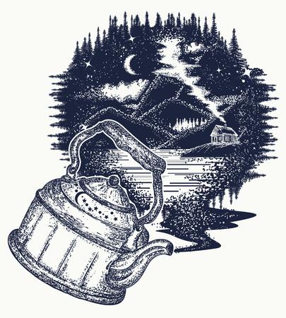 mystic: Outdoors tattoo art and t-shirt design.  Symbol of travel, tourism, meditation, adventures, dream, great outdoors. Night mountain landscape t-shirt design Illustration