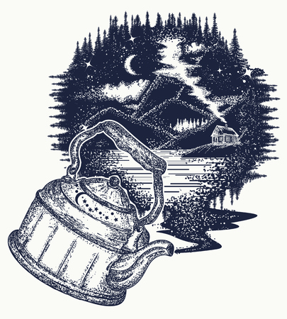 Outdoors tattoo art and t-shirt design.  Symbol of travel, tourism, meditation, adventures, dream, great outdoors. Night mountain landscape t-shirt design Illustration