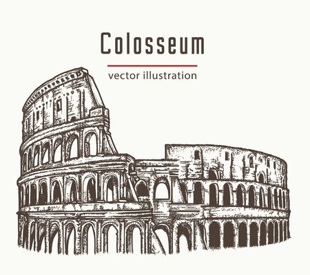 roman empire: Coliseum in Rome, Italy vector. Colosseum hand drawn illustration