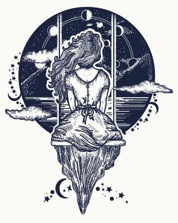 Chica en el oscilación vuela al arte del tatuaje del cielo. Símbolo de sueño, amor, imaginación, aventuras. La muchacha romántica sacude en el oscilación contra el fondo de montañas y el diseño estelar del tatuaje y de la camiseta del cielo Ilustración de vector