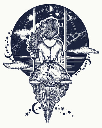 Girl on swing flies to sky tattoo art.  Symbol of dream,love, imagination, adventures. Romantic girl shakes on swing against background of mountains and stellar sky tattoo and t-shirt design