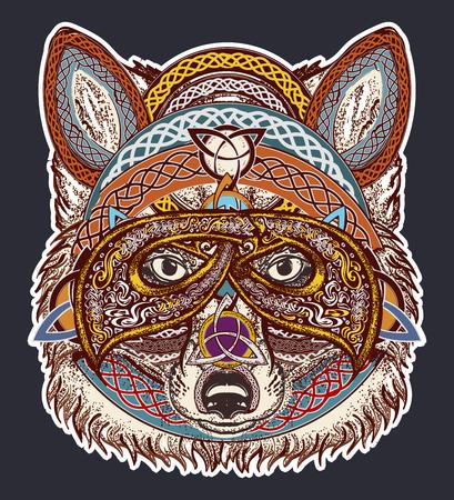 キツネ色の入れ墨の芸術。入れ墨の芸術、ケルト スタイル バイキングを狐します。ウルフ t シャツ デザイン アート動物。北のタトゥー。エスニッ