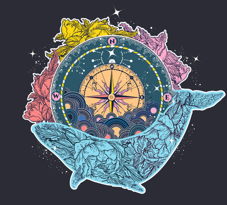 Arte antiguo del tatuaje de la brújula y floral de la ballena. Símbolo místico de la aventura, sueños. Diseño de camiseta de brújula y ballena y tatuaje de color. Viaje, aventura, símbolo al aire libre ballena, tatuaje marino Foto de archivo - 79178684