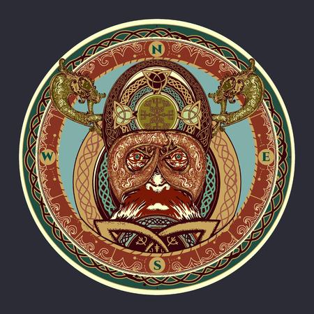 tatouage couleur viking, anneau avec ornement scandinave. t-shirt de