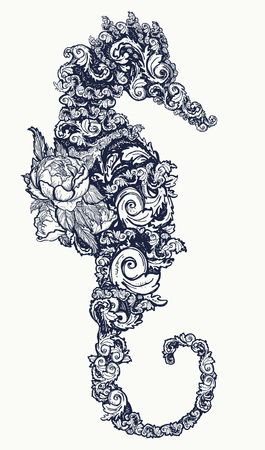 Sea horse tattoo and t-shirt design Symbol of travel, freedom, navigation. Seahorse of flowers isolated on white background t-shirt art Illustration