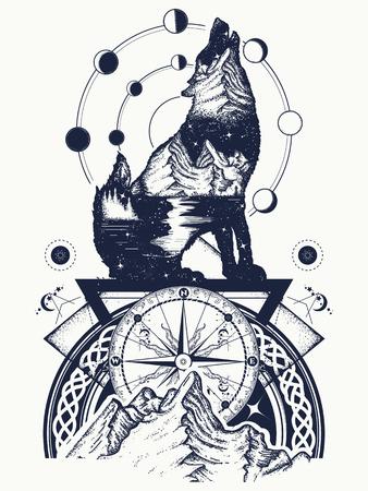 狼と山は二重露出タトゥー アートです。観光、旅行、冒険、屋外のシンボルです。オオカミの遠吠え、山と夜の空 t シャツ デザイン  イラスト・ベクター素材