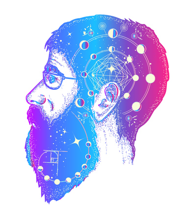 Scientist tattoo. Double exposure style tattoo art, portrait of hippie fashionable man t-shirt design. Symbol of dreamer, creator, philosopher