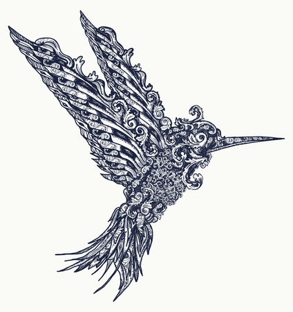 Humming bird tattoo and t-shirt design. Symbol of freedom, dream, travel, imagination. Beautiful flying humming  in ethnic style, bird tattoo