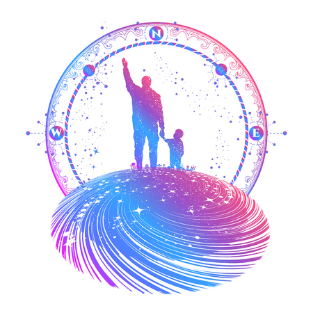 Father and son color tattoo art. Happy family of the future. Father teaches son to dream, life education. Immortality of human life t-shirt design. Milky Way with silhouette of  family graphic tattoo Illusztráció
