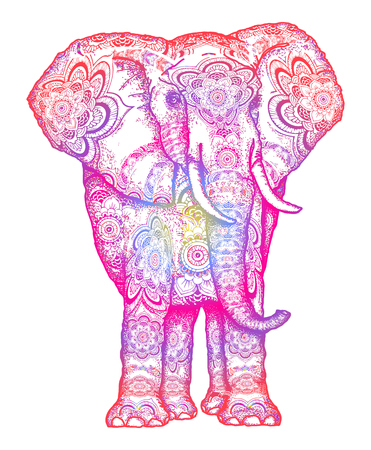 Elephant tattoo. Decorative colorful elephant front view with stylized sacral ornament. Symbol of meditation, love, freedom, spiritual search. Boho elephant t-shirt design Vectores